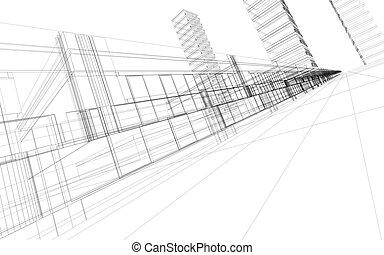 edificios, wireframe, oficina