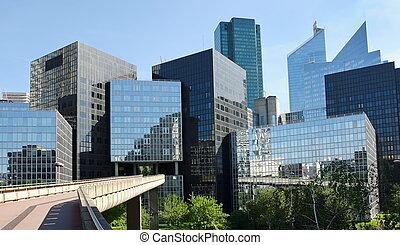 edificios, zona comercial, la, moderno, defensa, w
