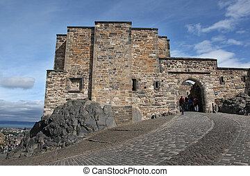 edimbourg, bâtiments, moyen-âge, ecosse, royaume-uni, château