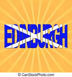 edimbourg, drapeau, sunburst, illustration, texte