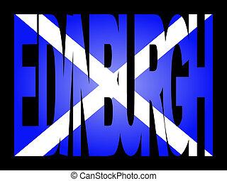 edimbourg, drapeau, texte