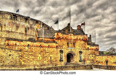 edimbourg, entrée, -, royaume-uni, sc3otland, château