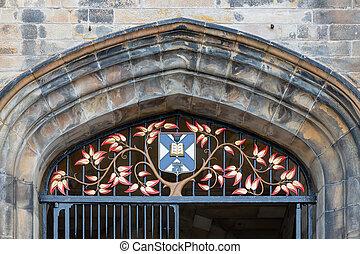edimbourg, entrée, université, collège, façade, nouveau