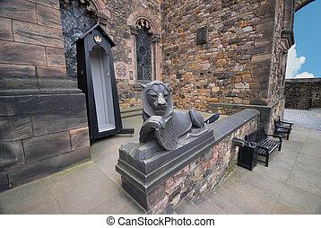 edimbourg, lion, château, statue