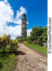 edimbourg, nelson, monument, calton, colline