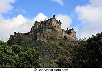 edimbourg, princes, premier plan, ecosse, jardins, rue, fontaine, château, ross
