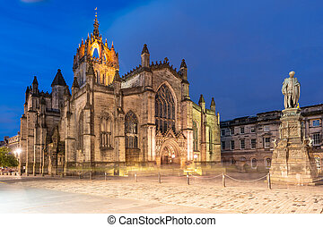 edimbourg, royal, rue, mille, cathédrale, giles'