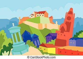 edimbourg, silhouette, ville, résumé, horizon, gratte-ciel
