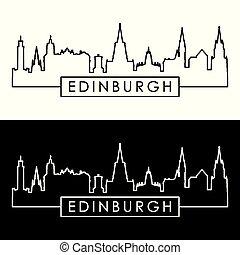 edimbourg, style., skyline., linéaire