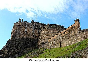 edimburgo, escocia, -, lugar famoso, roca, castillo