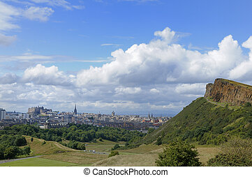 Edinburgh and Salisbury Crags - The city of Edinburgh,...