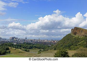 Edinburgh and Salisbury Crags - The city of Edinburgh,...