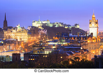 Edinburgh at dusk - Edinburgh Cityscape from Calton Hill at...