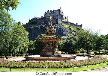 Edinburgh Castle and Ross Fountain - View of Edinburgh...