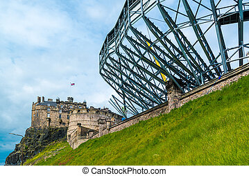 Edinburgh Castle getting ready for the military tattoo