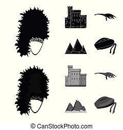 Edinburgh Castle, Loch Ness Monster, Grampian Mountains, national cap balmoral,tam o shanter. Scotland set collection icons in black,monochrome style vector symbol stock illustration web.