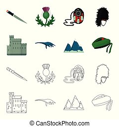 Edinburgh Castle, Loch Ness Monster, Grampian Mountains, national cap balmoral,tam o shanter. Scotland set collection icons in cartoon,outline style vector symbol stock illustration web.