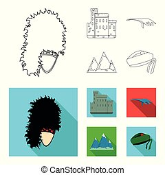 Edinburgh Castle, Loch Ness Monster, Grampian Mountains, national cap balmoral,tam o shanter. Scotland set collection icons in outline,flat style vector symbol stock illustration web.