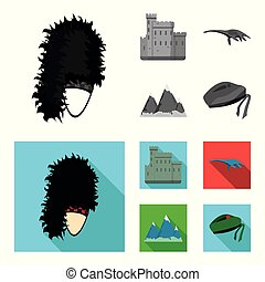 Edinburgh Castle, Loch Ness Monster, Grampian Mountains, national cap balmoral,tam o shanter. Scotland set collection icons in monochrome,flat style vector symbol stock illustration web.