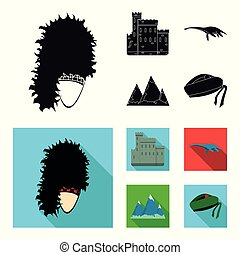 Edinburgh Castle, Loch Ness Monster, Grampian Mountains, national cap balmoral,tam o shanter. Scotland set collection icons in black,flat style vector symbol stock illustration web.