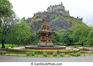 Edinburgh Castle, Scotland, from Princes Street Gardens, with the Ross Fountain, UK
