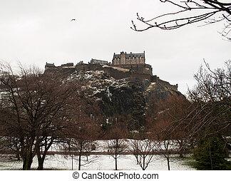 Edinburgh castle snow