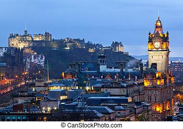 Edinburgh Castle with Cityscape from Calton Hill at dusk...