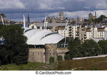 Edinburgh City - A view of Edinburgh old town from behind a...