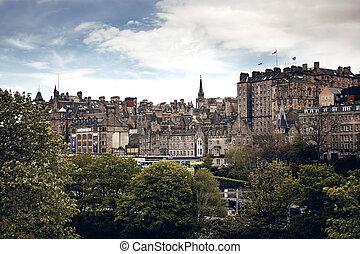 Edinburgh city view with cloudy sky, Scotland