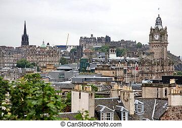 Edinburgh from Calton Hill including Edinburgh Castle and Scott
