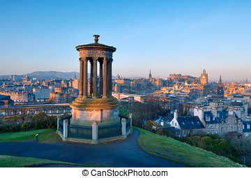 Edinburgh from Castle Hill - Sunrise view across the city of...