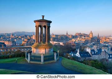 Edinburgh from Castle Hill - Sunrise view across the city of...