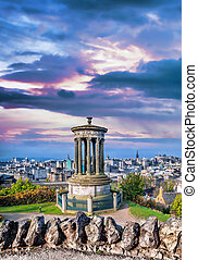 Edinburgh panorama with Calton Hill in Scotland