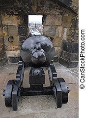 edinburgh, parete, scozia, -, cannone, nascosto, castello