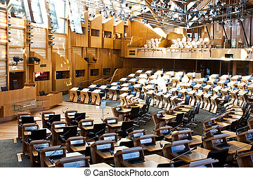 Edinburgh parliament - Interiors of Edinburgh Parliament,...