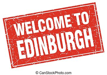 Edinburgh red square grunge welcome to stamp