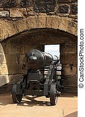 edinburgh, rinnovato, cannone, regno unito, grande, castello
