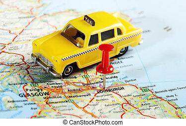 edinburgh, skottland, taxi, karta