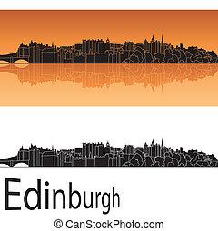 Edinburgh skyline in orange background in editable vector...
