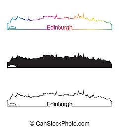 Edinburgh skyline linear style with rainbow in editable...