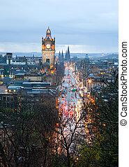 Edinburgh skyline with garden Scotland UK at dusk