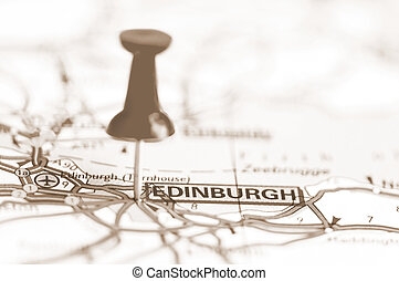 edinburgh, stad, på, karta, skottland