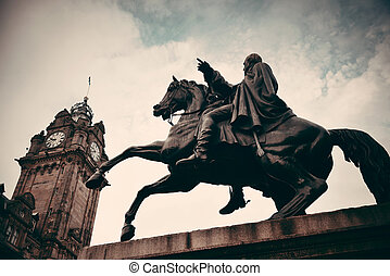 Edinburgh - The Duke of Wellington Statue and bell tower of...