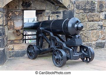 edinburgh, vecchio, medievale, cannone, scozia, castello