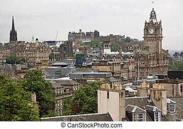 Edinburgh vista from Calton Hill including Edinburgh Castle and Scott Monument , UK
