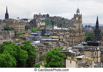 Edinburgh vista from Calton Hill including Edinburgh Castle, Balmoral Hotel and Scott Monument , GB