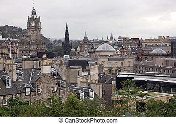 Edinburgh vista from Calton Hill including Edinburgh Castle, Balmoral Hotel and Scott Monument , UK