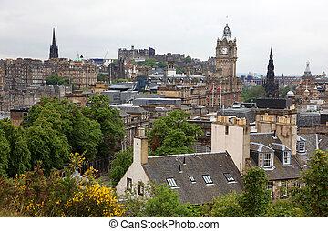 Edinburgh vista from Calton Hill including Edinburgh Castle,...