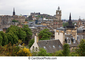 Edinburgh vista from Calton Hill including Edinburgh Castle,...