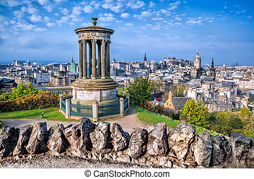 Edinburgh with Calton Hill in Scotland